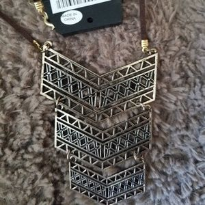 NWT Gold Colored Geometic Necklace
